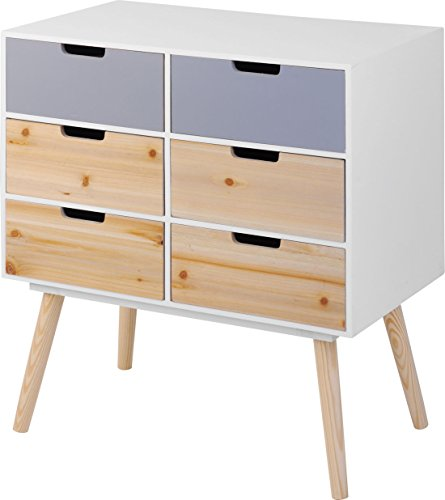 moderne holz kommode im 70er jahre retro design 6 schubladen beistelltisch konsolentisch. Black Bedroom Furniture Sets. Home Design Ideas