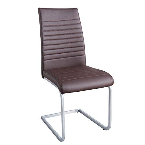 Moderner Freischwinger Stuhl DERBY braun hochwertig verchromtes Stuhlgestell