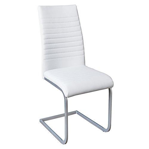 Moderner Freischwinger Stuhl DERBY weiß hochwertig verchromtes Stuhlgestell