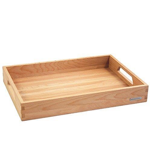 NATUREHOME Holztablett Küchentablett Serviertablett Frühstückstablett Holz Buche Serie NH-B Größe 50 x 35,5 x 7 cm