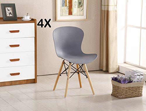 P & N Homewares® Alessia Eiffel Stuhl aus Kunststoff Gerippter DS Retro Weiß Schwarz Grau Rot Gelb Pink Grün Blau (Set von 4) grau
