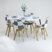 P & N Homewares® Fabia Dining Set 1 Esstisch und 4 Fabia schwarz und weiß Patchwork Stühle Set Retro Modern Moderne Retro modernen skandinavischen Möbeln, White Table + 4 Patchwork Chairs