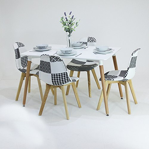 p n homewares fabia dining set 1 esstisch und 4 fabia schwarz und wei patchwork st hle set. Black Bedroom Furniture Sets. Home Design Ideas