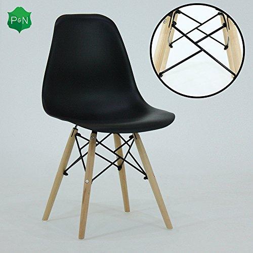 P & N Homewares® Romano DS Moda Stuhl Kunststoff Holz Retro Esszimmer Stühle Weiß Schwarz Grau Rot Gelb Rosa Grün Blau (Schwarz)