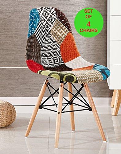 P & N Homewares® Set von 4Moda Patchwork Stuhl Esszimmerstuhl oder Bürostuhl oder Stuhl Wunderschöner Stoff Kombination modernen Retro-Stuhl