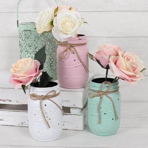 Pastell Shabby Chic Set 3 Bud Vase Gläser Weinlese Mason Rustikale Blumen Hochzeit