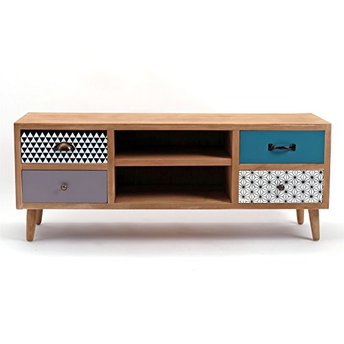 retro tv board capri 118 cm mit schubladen und regalf chern lowboard retro stuhl. Black Bedroom Furniture Sets. Home Design Ideas