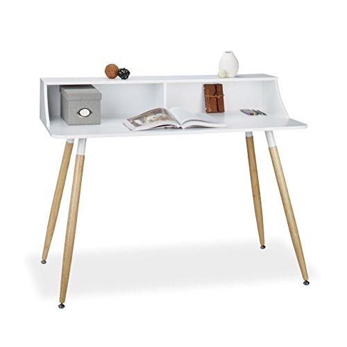 relaxdays schreibtisch wei arvid holz 2 f cher ablage hxbxt 93 x 120 x 60 cm beine natur. Black Bedroom Furniture Sets. Home Design Ideas