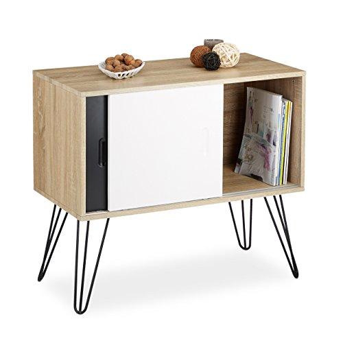 Relaxdays Sideboard Retro, 60er Jahre Design, Holz, Metall, Kommode, Skandinavisch, HxBxT: 70 x 80 x 40 cm, Schwarz Weiß