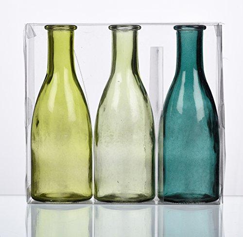 """SANDRA RICH. GLAS VASE """"BOTTLE groß"""". 3 kleine Flaschen ca 18,5 x 6,5 cm. Petrol - GRÜN. 1165-18-51"""