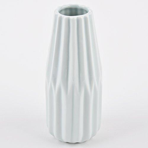 Vase Faltoptik Design rund Porzellan Tischdeko Gefäß (15x6x6cm, Mint)