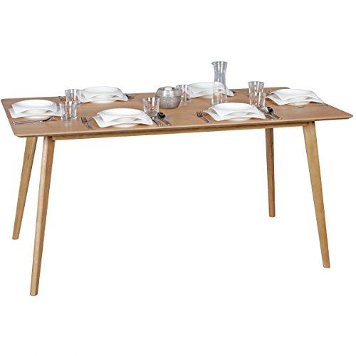 WOHNLING Esszimmertisch 160 x 76 x 90 cm aus MDF Holz | Esstisch mit quadratischer Tischplatte | Robuster Küchen-Tisch im Retro Stil | Holz-Tisch in skandinavischem Design | Tisch in Eichenfurnier