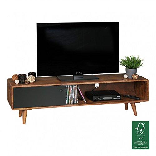 wohnling tv lowboard repa sheesham massivholz mit 1 t r 140 x 40 x 35 cm tv hifi regal im. Black Bedroom Furniture Sets. Home Design Ideas