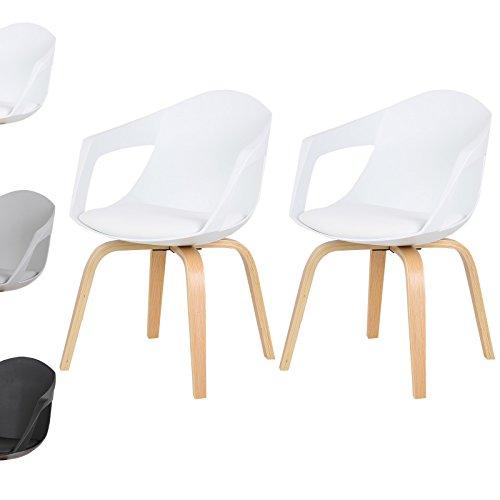 WOLTU 2 x Esszimmerstühle Designstuhl Küchenstuhl mit Arm- und Rückenlehne, Sitzfläche aus Kunstleder, Massivholz Stuhl, BH50ws-2-a Weiß