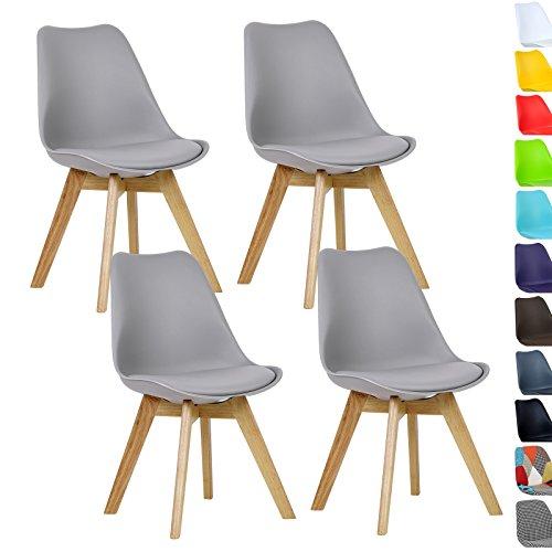 WOLTU® 4er Set Esszimmerstühle Küchenstuhl Design Stuhl Esszimmerstuhl Kunstleder Holz Neu Design Grau BH29gr-4