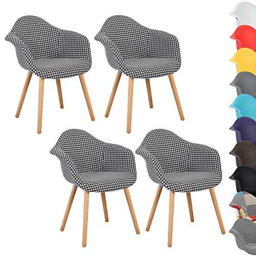 WOLTU® 4er Set Esszimmerstühle Küchenstuhl Design Stuhl Esszimmerstuhl mit Lehne Leinen Holz Neu Design Hahnenmuster BH37swh-4