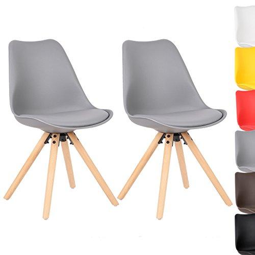woltu bh52gr 2 2 x esszimmerst hle 2er set esszimmerstuhl mit sitzfl che aus kunstleder design. Black Bedroom Furniture Sets. Home Design Ideas