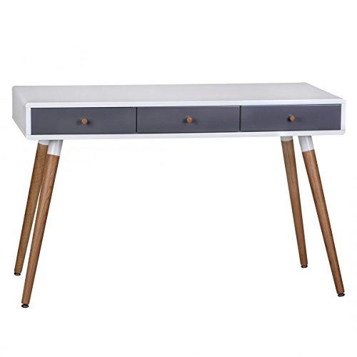 Wohnling Retro Konsolentisch Weiß Grau SCANIO mit 3 Schubladen - Füße Eiche