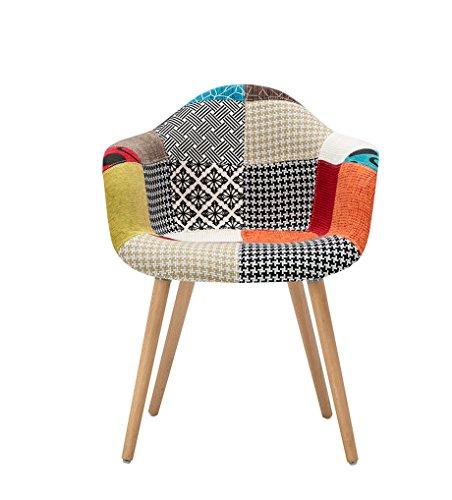 YiLianDa 2er Set Moderner Patchwork Stuhl im Retro Design mit Schaumstoffpolsterung Holz Beinen Sessel Lounge Chair Für Esszimmer, Wohnzimmer
