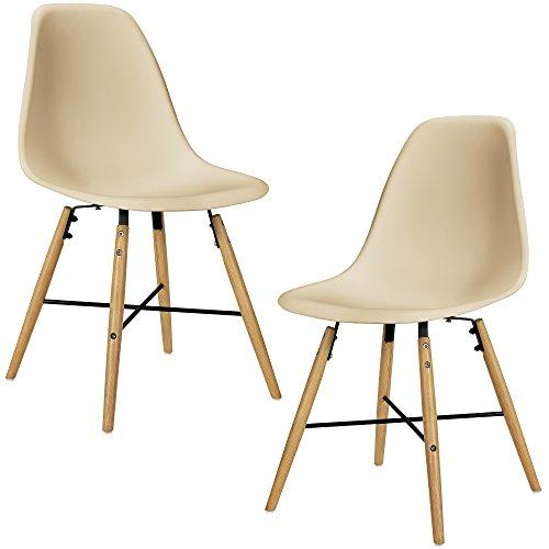 2x esszimmerstuhl beige esszimmer lehnstuhl kunststoff k che set retro stuhl. Black Bedroom Furniture Sets. Home Design Ideas