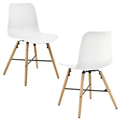 [en.casa] Designstuhl im 2er-Set - 80 x 44,5cm - weiß - Esszimmerstuhl Kunststoff Retro