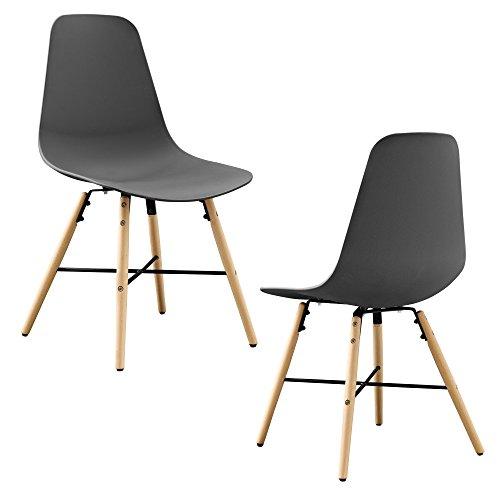 [en.casa] Designstuhl im 2er-Set - 85,5 x 46cm - grau - Esszimmerstuhl Kunststoff Retro
