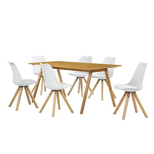En Casa Esstisch Bambus Mit 6 Stuhlen Weiss Gepolstert 180x80cm Esszimmer Essgruppe Kuche