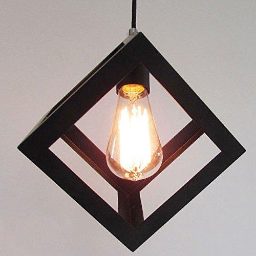 hahaemall Vintage Beleuchtung Industrie Edison Cube Design Antik Schwarz Draht Käfig Lampe Anhänger