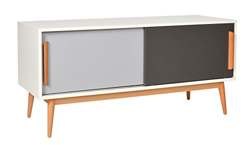Ts-ideen Sideboard Kommode Lowboard TV-Bank Weiss Grau