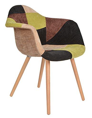 1 x Design Klassiker Patchwork Sessel Retro 50er Jahre Barstuhl Wohnzimmer  Büro Küchen Stuhl Esszimmer...