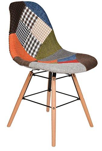 1 x design patchwork sessel wohnzimmer b ro stuhl esszimmer sitz holz stoff bunt retro stuhl. Black Bedroom Furniture Sets. Home Design Ideas