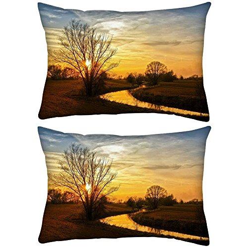 2Stück Baum mit ohne Blätter Rechteck Überwurf Werfen Kissenbezug, Decoarative Kissen Fall 50,8x 76,2cm