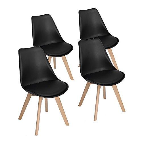 4er Set Esszimmerstühle mit Massivholz Buche Bein, Retro Design Gepolsterter lStuhl Küchenstuhl Holz, Schwarz