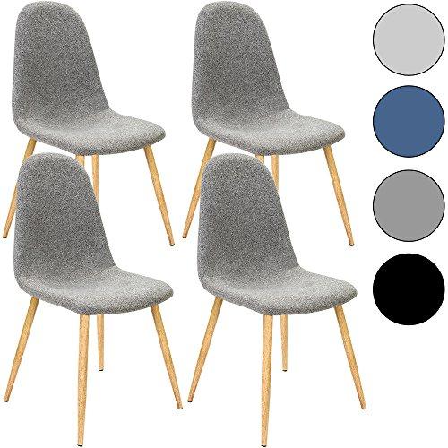 4x design stuhl mit stoffbezug hellgrau esszimmerst hle st hle designerstuhl k chenst hle. Black Bedroom Furniture Sets. Home Design Ideas