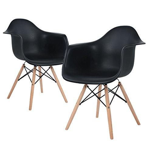 ajie retro stuhl wei e sitzschale mit armlehnen auf massiven holzbeinen verschiedene. Black Bedroom Furniture Sets. Home Design Ideas