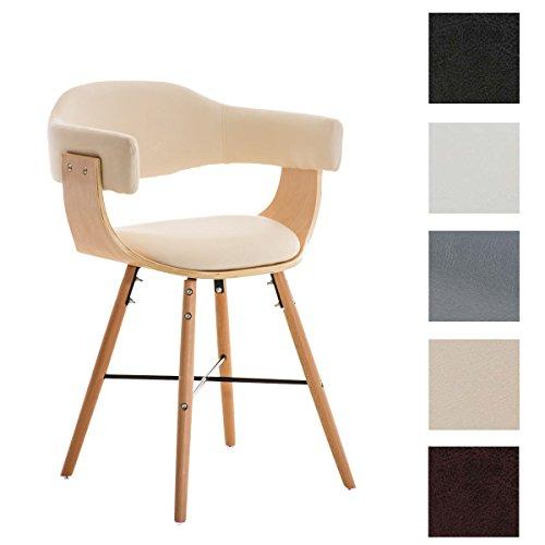 CLP Besucherstuhl BARRIE V2, natura, mit Armlehne, Sitzfläche gut gepolstert, Holzgestell, modern Creme