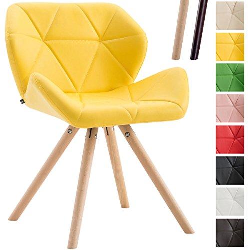 CLP Design Retro-Stuhl TYLER, Bein-Form rund, Kunstleder-Sitz gepolstert, Buchenholz-Gestell, Gelb, Gestellfarbe: Natura