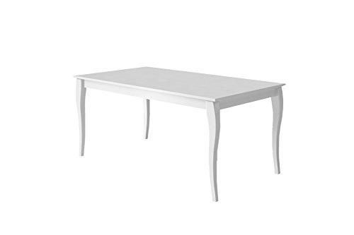 """Cavadore Esszimmertisch """"Matilda"""" / Moderner Esstisch in Hochglanz Weiß lackiertem Holz mit elegant geschwungenen Tischbeinen / 160x75x90cm (BxHxT)"""