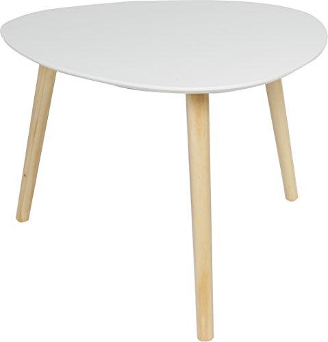 couchtisch beistell tisch im retro stil sofatisch mit drei beinen 55x55cm weiss matt. Black Bedroom Furniture Sets. Home Design Ideas