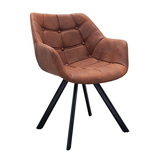 Design Stuhl THE DUTCH COURTURIER Antik Cognac Mit Steppung Metall Esszimmer  Sessel Polsterstuhl Bürosessel