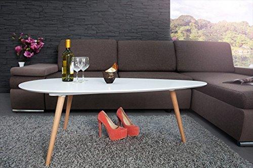 DuNord Design Couchtisch Beistelltisch STOCKHOLM weiß 115cm 70er Retro Design Nierenform Tisch
