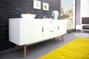 DuNord Design Sideboard Kommode STOCKHOLM 160cm weiss Eiche Retro Design Regal Anrichte