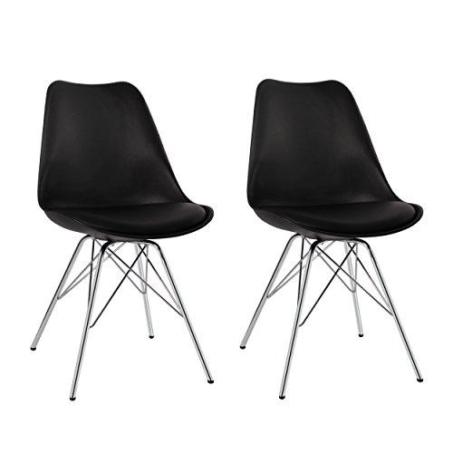 Esszimmerstuhl 2er Set in Schwarz Küchenstuhl Kunststoff mit SItzkissen Stuhl Vintage Design Retro Duhome 0550