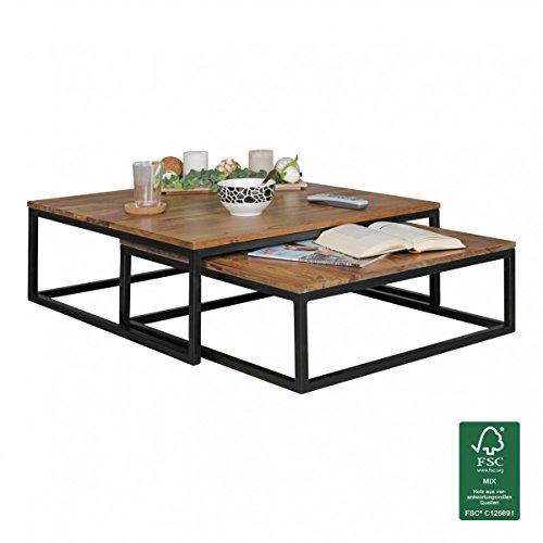 finebuy couchtisch olaka 2 teilig massivholz 75 x 75 x 27 cm design wohnzimmertisch sheesham. Black Bedroom Furniture Sets. Home Design Ideas