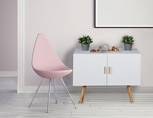 FineBuy Sideboard SCANIO MDF-Holz mit 2 Türen Weiß   Kommode 90 cm - Dielenmöbel   Design Holzkommode in skandinavischem Stil   Moderne Schlafzimmerkommode matt lackiert   Flur Anrichte mit edlen Holzgriffen