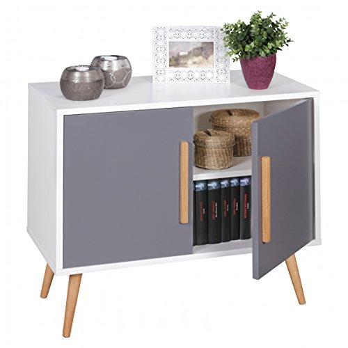 finebuy sideboard mit 2 t ren skandinavisches retro design 80 x 70 x 40 cm scanio wei grau. Black Bedroom Furniture Sets. Home Design Ideas
