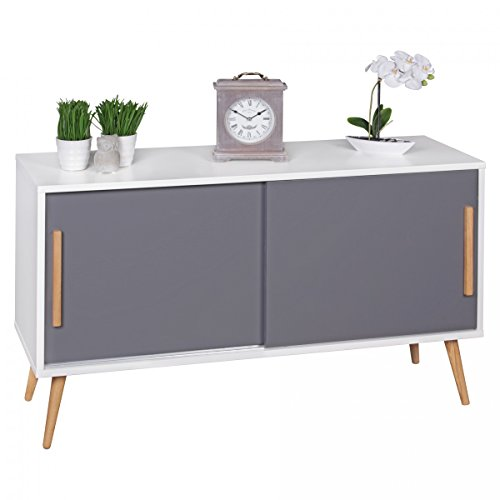finebuy sideboard mit schiebet ren skandinavisches design 120 x 70 x 40 cm scanio wei grau. Black Bedroom Furniture Sets. Home Design Ideas