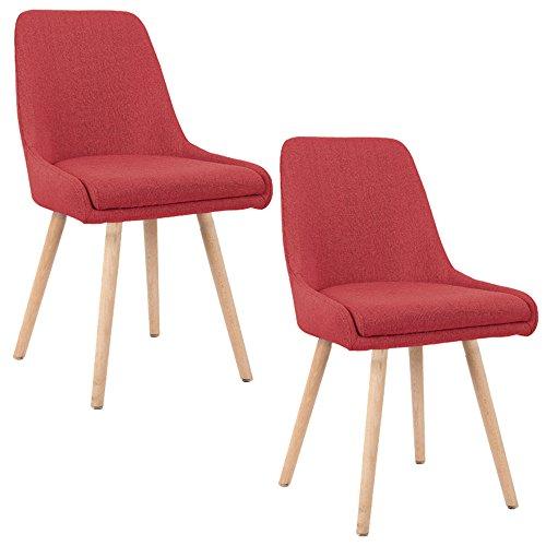HENGMEI 2 er Set Polsterstuhl Esszimmerstuhl Bürostuhl mit stabilen Beine Farbauswahl (Rot)
