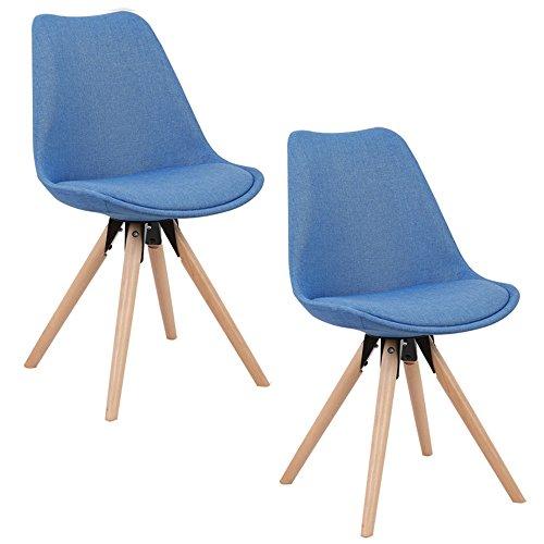 HENGMEI 2x Küchenstuhl mit HolzbeineSitz kissen Esszimmerstuhl Wohnzimmerstuhl für Esszimmer und Wohnzimmer (Blau)
