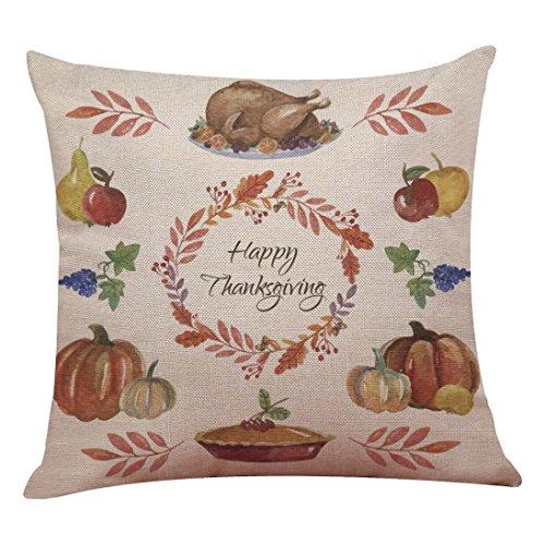 Kissen Fall, fhikf Thanksgiving Kürbis Überwurf Kissen Fall Home Sofa Bett Decor Quadratischer Kissenbezug, Flax, Large